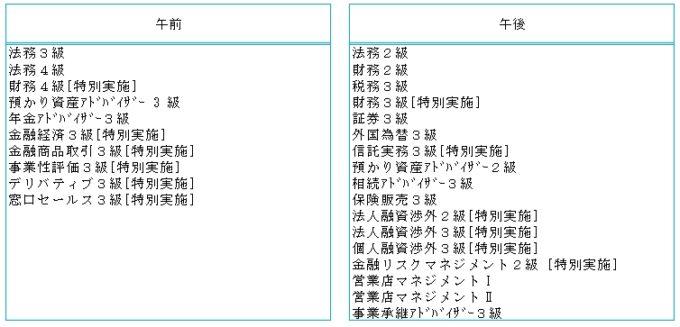 銀行業務検定の2020年10月開催の日程表